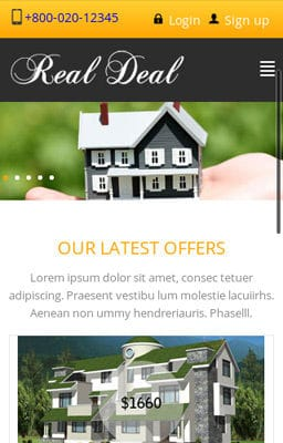 Free Iphone Smartphone web template Real Deal – Real Estate Mobile Website Template