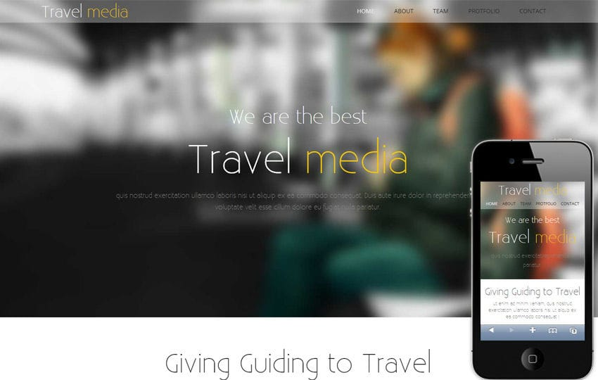 Travel Media – A Travel Guide Mobile Website Template Mobile website template Free