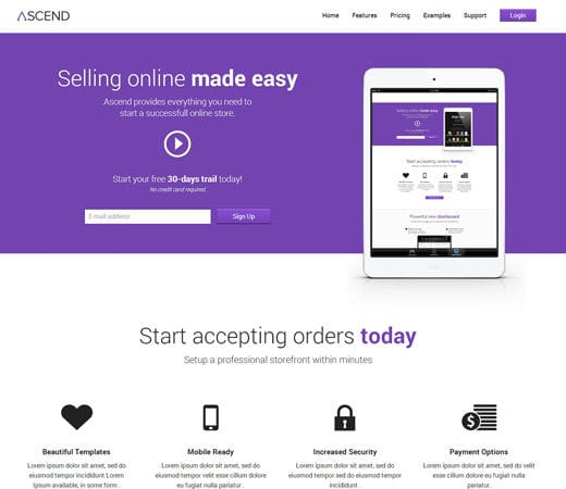 Free website template CSS HTML5 Ascend eCommerce Responsive Mobile Website Template