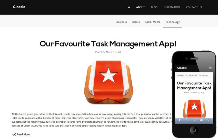 Classic Blog Responsive Mobile Website Template Mobile website template Free