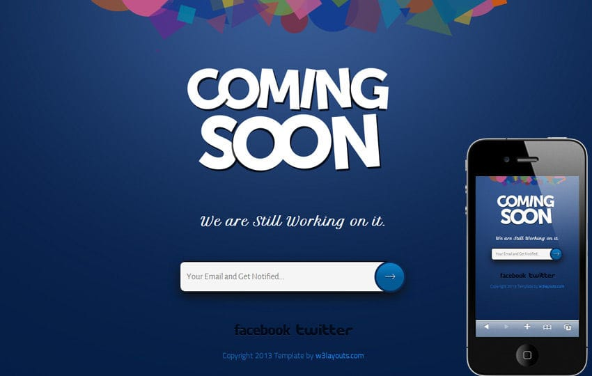 Coming soon Under Construction Responsive Website Template Mobile website template Free