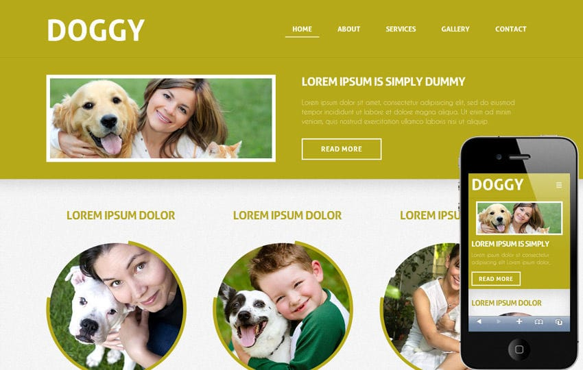 Doggy a animals and pets Mobile Website Template Mobile website template Free