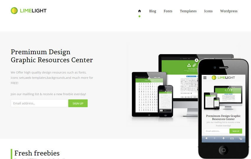 Limelight Download Gallery Responsive Website Template Mobile website template Free