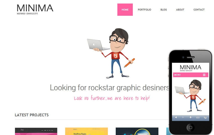 Minima Freebiesxpress Mobile Website Template Mobile website template Free