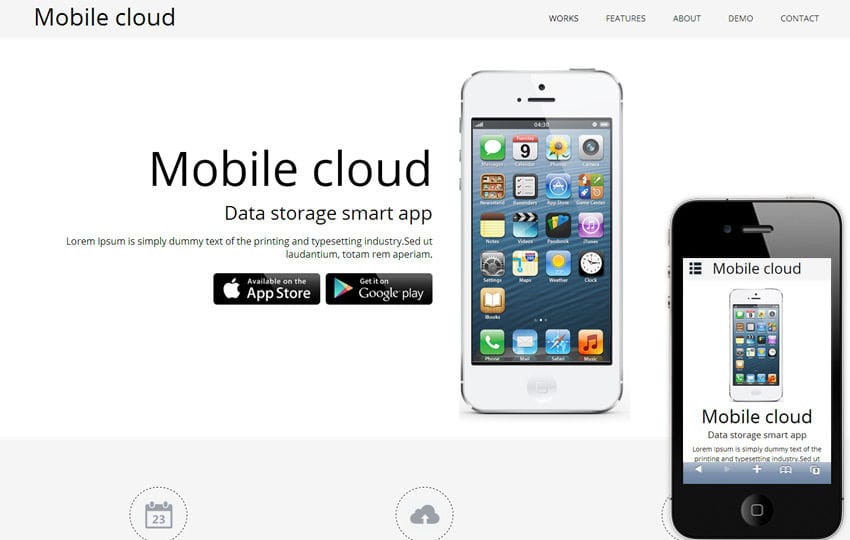 Mobile Cloud a App based Mobile Website Template Mobile website template Free