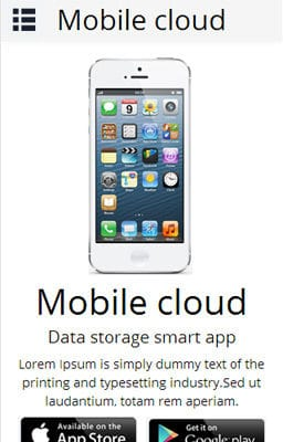 Free Iphone Smartphone web template Mobile Cloud a App based Mobile Website Template