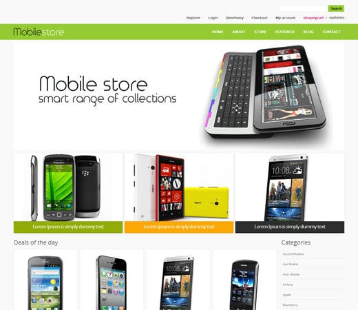 mobile store e commerce shopping cart mobile website
