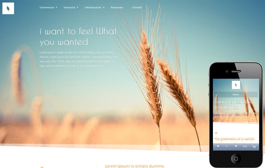 Organic corporate Responsive Mobile Website Template Mobile website template Free