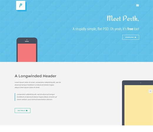 Free website template CSS HTML5 Perth flat Responsive design Mobile Website Template