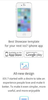 Mobile website Template iOS7 App Responsive Landingpage web template