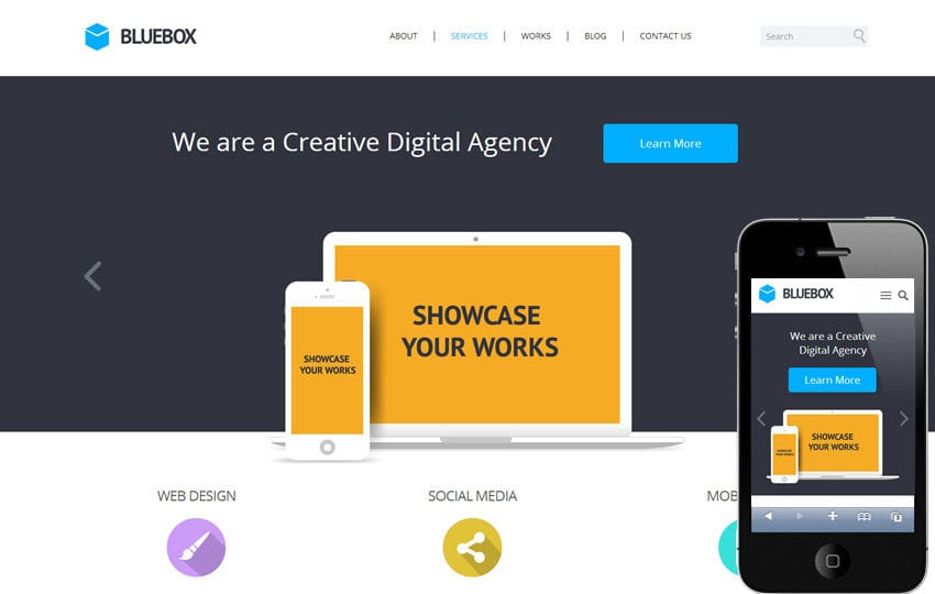 Bluebox Flat Corporate Responsive Website Template