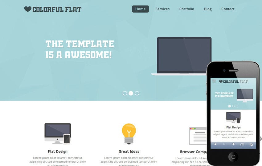Flat single page responsive web template flashek