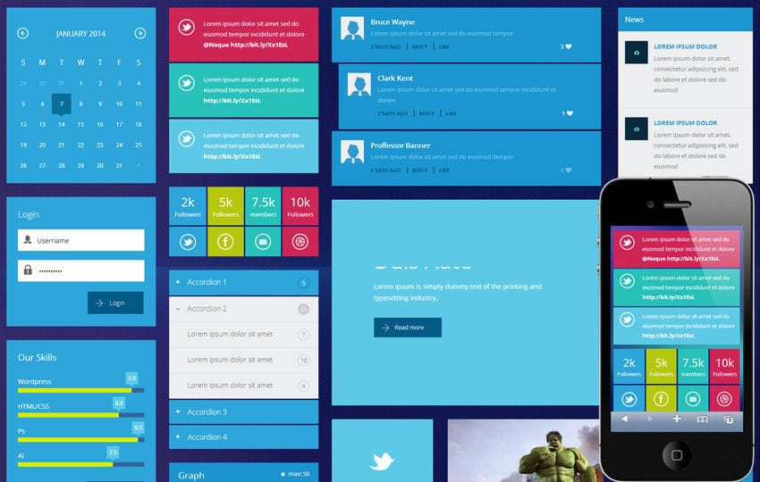 Metro Tiles UI Kit Responsive template by w3layouts