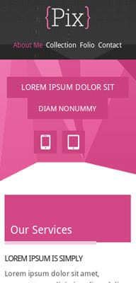 Mobile website Template Pix Photography folio Mobile Website Template