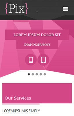 Free Iphone Smartphone web template Pix Photography folio Mobile Website Template