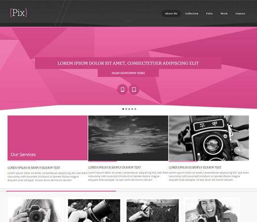 Free website template CSS HTML5 Pix Photography folio Mobile Website Template
