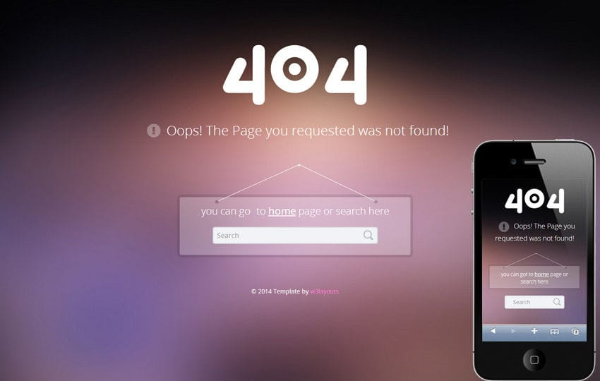 404 Error Page Responsive web Template Mobile website template Free