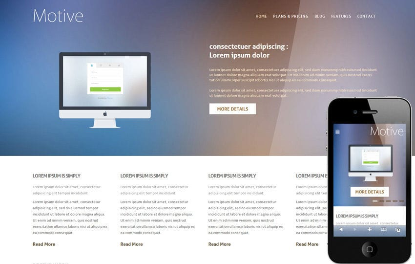 Motive Corporate Flat Responsive web template Mobile website template Free