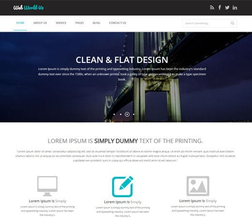 Free website template CSS HTML5 Webworld V2 Corporate Flat Responsive web template
