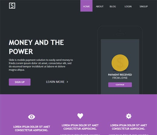 Slide Landing Page Flat Responsive Web Template By W3layouts