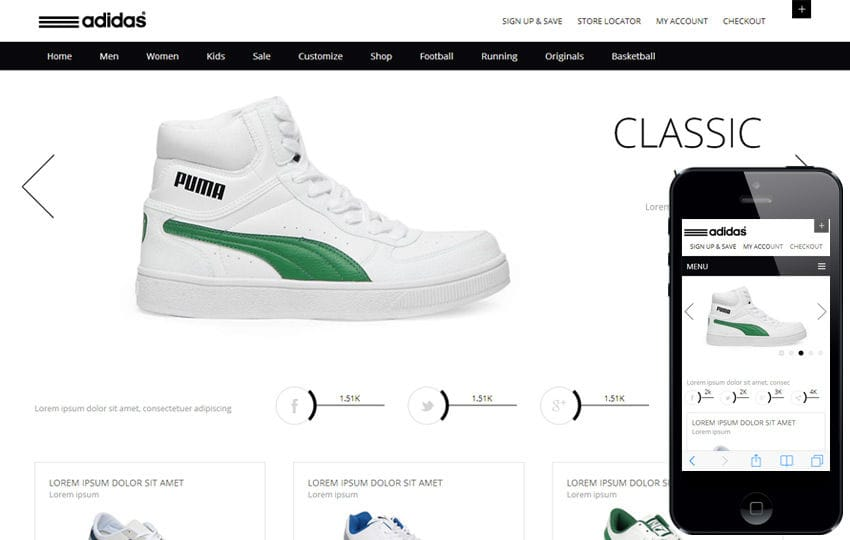 Clean and flat whity ecommerce responsive web template by for Top online websites for shopping