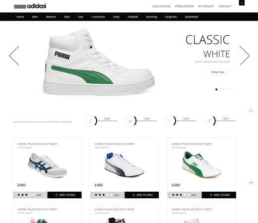 Free website template CSS HTML5 Whity, a Clean,  Flat E commerce Responsive web template