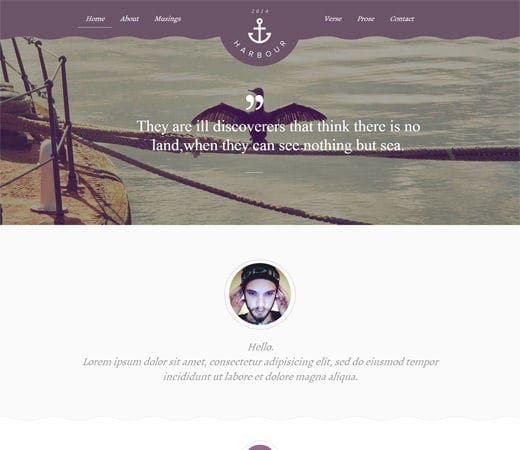 Free website template CSS HTML5 Harbour a Flat Portfolio Responsive Web Template