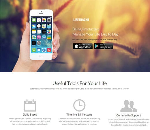 Free website template CSS HTML5 LifeTrackr a Landing page Flat Responsive web template