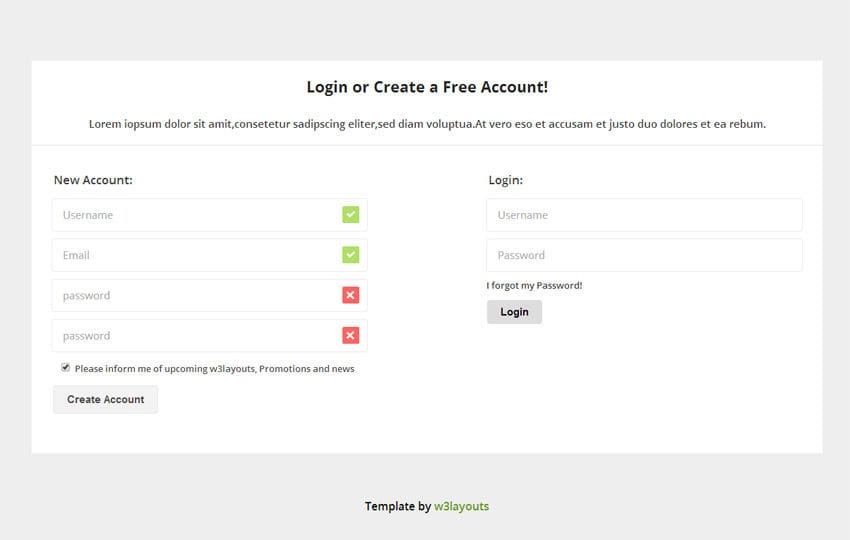 Login and Registration Template by w3layouts