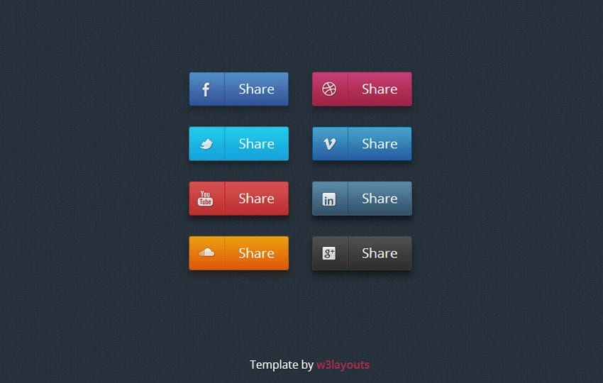 social media icon set by w3layouts