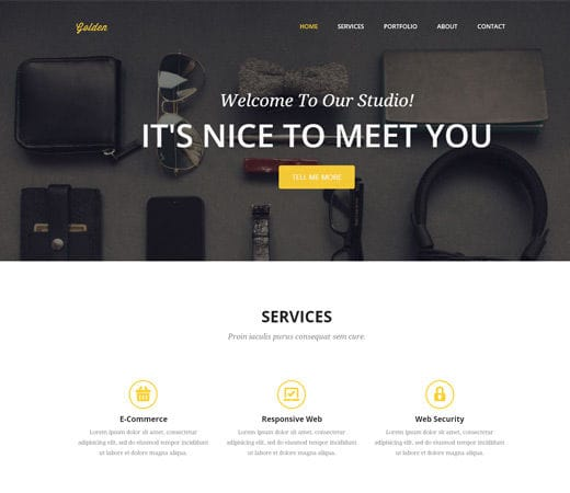 Free website template CSS HTML5 Golden a Corporate Flat Responsive web template