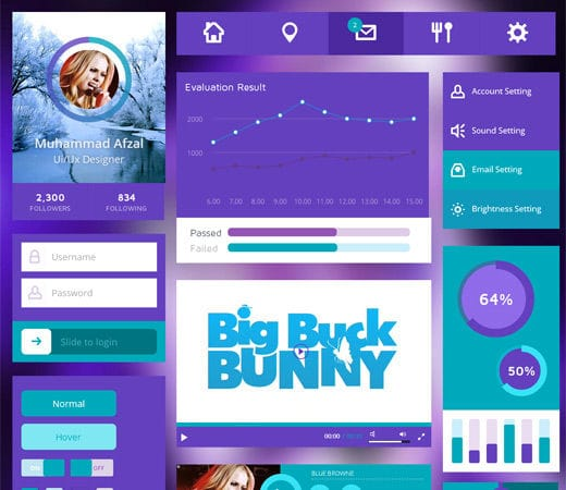 Free website template CSS HTML5 Purple UI Kit Flat Responsive web template