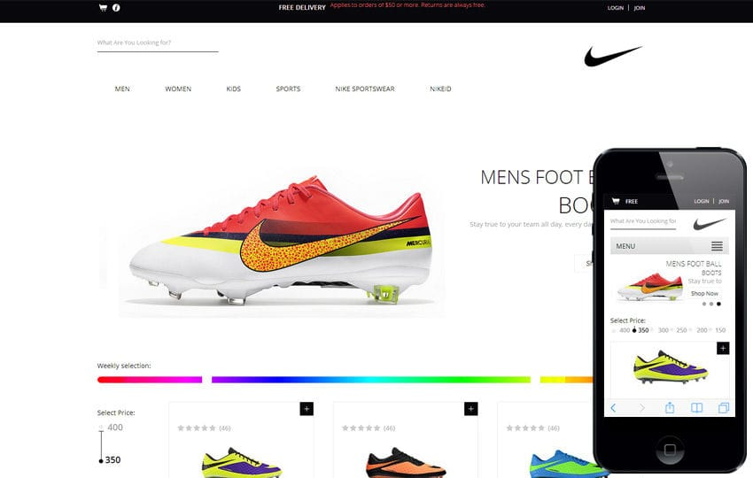 Spike Shoes A Flat ECommerce Responsive Web Template By Wlayouts - Buy ecommerce website templates