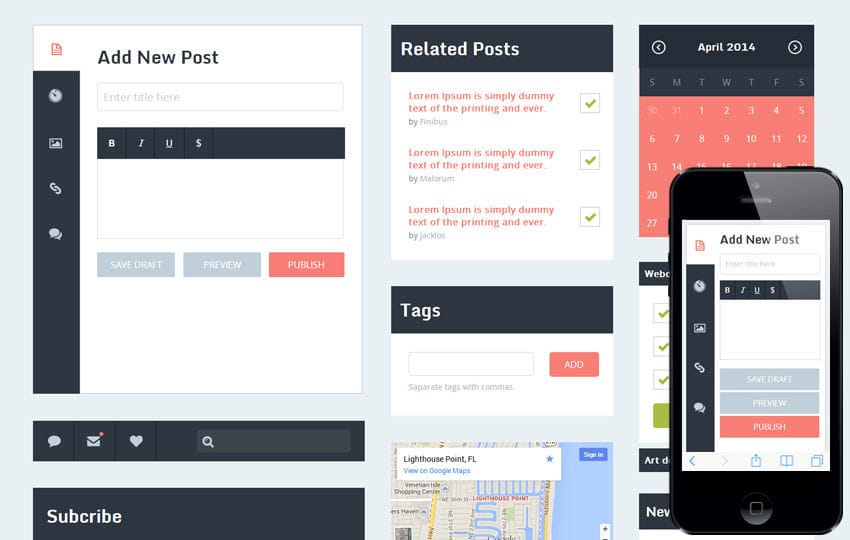 Trendy UI KIt Flat Responsive web template Mobile website template Free