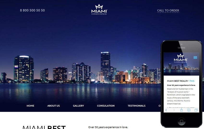 Free One Page Themes - Miami - <p>Flat Luxury Template</p>
