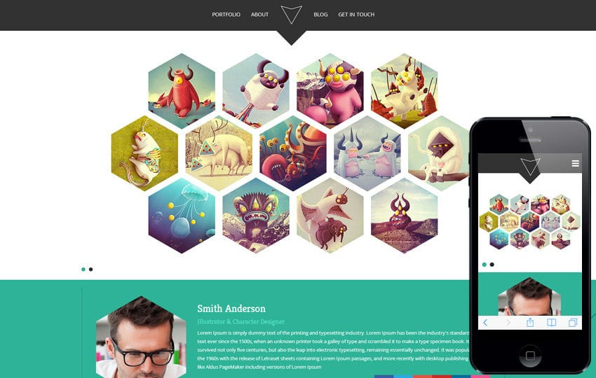 Hexa a Flat Portfolio Bootstrap Responsive Web Template Mobile website template Free