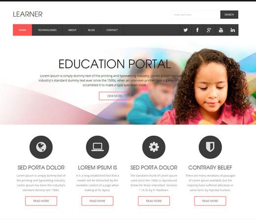 Free Download Learner a Educational Flat Responsive web template ...