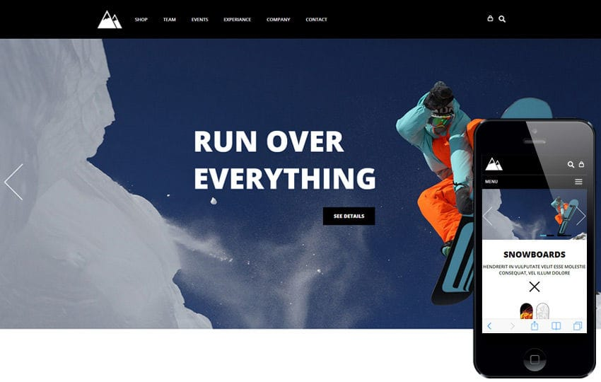 Snowboarding a Flat ECommerce Bootstrap Responsive Web Template Mobile website template Free