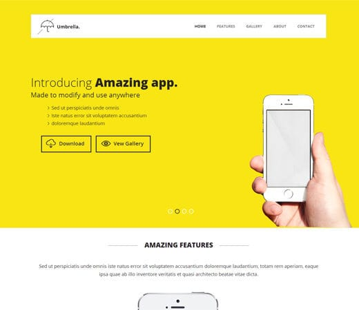Umbrella A Mobile App Based Flat Bootstrap Responsive Web