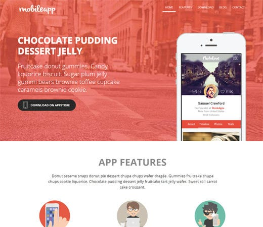 Free website template CSS HTML5 Mobileapp a App Based Flat Bootstrap Responsive Web Template