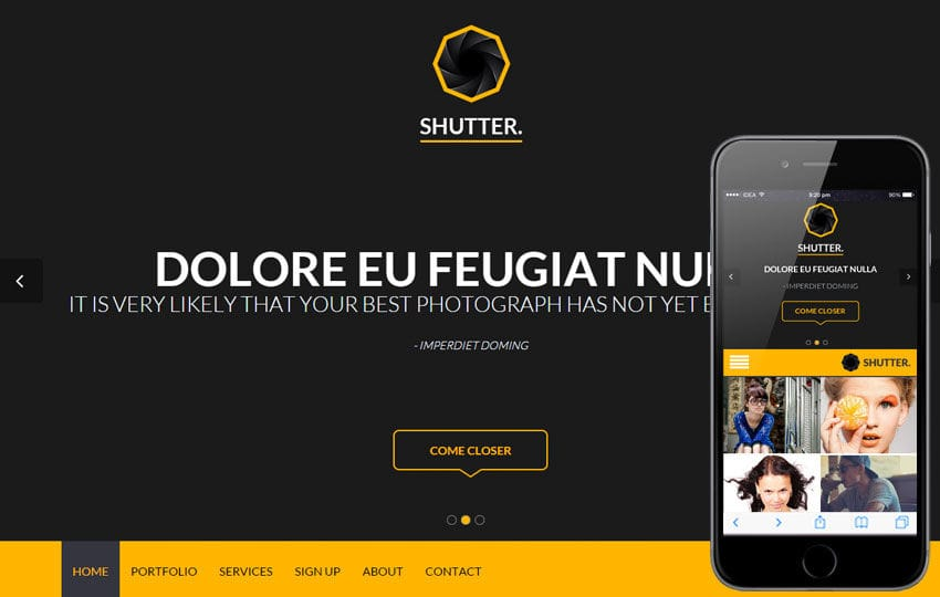 Shutter a Singlepage Portfolio Flat Bootstrap Responsive Web Template Mobile website template Free
