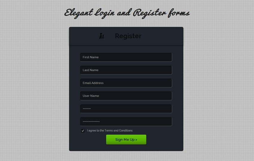 Elegant Login and Register Forms Template Mobile website template Free