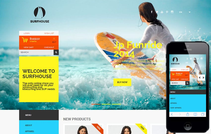 Free One Page Themes - Surfhouse - <p>Flat Ecommerce Theme</p>
