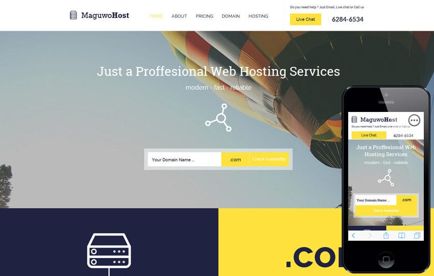 Maguwohost a Web Hosting Flat Bootstrap Responsive Web Template Mobile website template Free