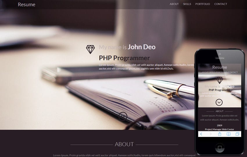 Resume A Onepage Portfolio Flat Bootstrap Responsive Web Template