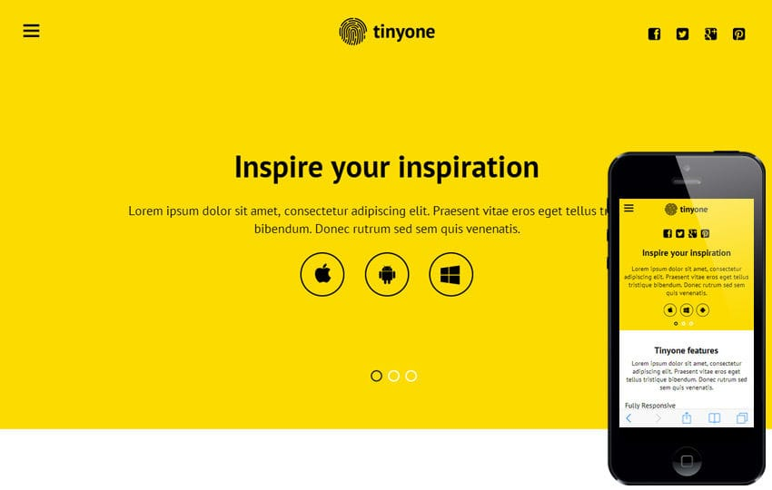 Tinyone a Mobile App based Flat Bootstrap Responsive web template Mobile website template Free