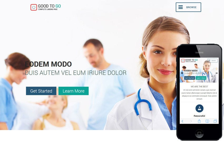 Good a Singlepage Medical Category Flat Bootstrap Responsive web template Mobile website template Free