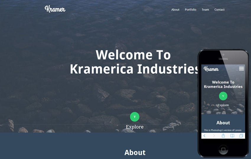 Kramer a Industrial Portfolio Flat Bootstrap Responsive web template Mobile website template Free
