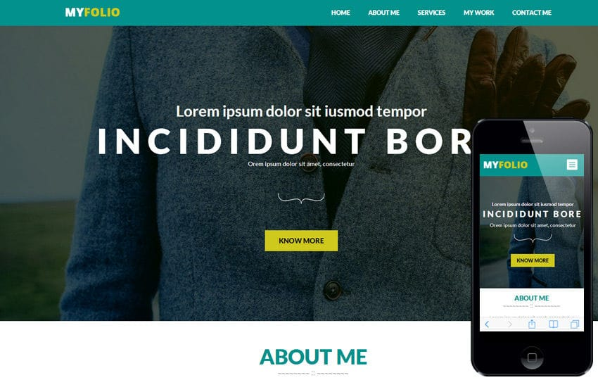MyFolio a Personal Portfolio Flat Bootstrap Responsive web template Mobile website template Free