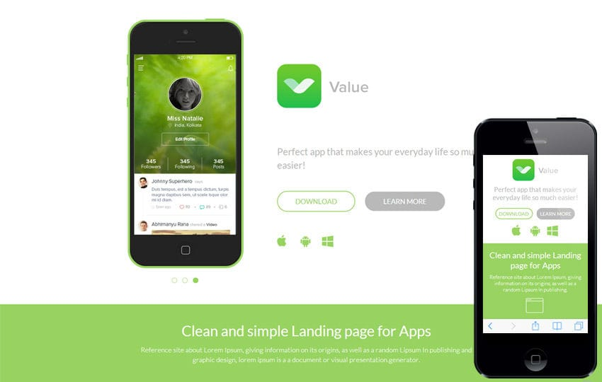 Value a mobile app based flat bootstrap responsive web for App templates free